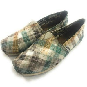 Toms Womens Green Gold Plaid Flats, Size 6